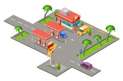 Gas station isometric 3D vector illustration of cars petrol fuel filling station. Gas station isometric 3D vector illustration for construction design. Isometric Royalty Free Stock Image