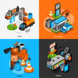 Gas station isometric 4 pictograms composition. Gas diesel station refuel pump convenience store and safety isometric icons composition banner abstract isolated Royalty Free Stock Photo