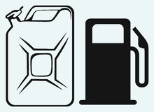 Gas station and jerrycan Royalty Free Stock Photography