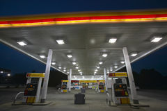 Gas Station with lights on Royalty Free Stock Photos