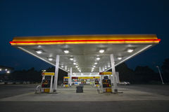 Gas Station with lights. On and mini-mart at dusk in Central GA stock photo