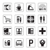 Gas station, mall and motel icons. Set - vector illustration Stock Photos
