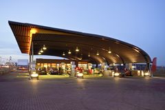 Gas station in the Netherlands. Gas station at sunset in the Netherlands Stock Photos