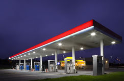 Gas station at night Stock Photos