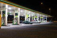 Gas station at night Stock Images