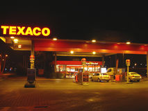 Gas station in the night city Gorinchem. Netherlands Royalty Free Stock Images