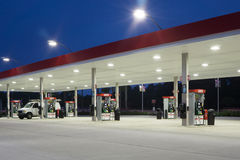 Gas Station at Night Royalty Free Stock Images