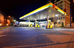 Gas station by night Royalty Free Stock Photography