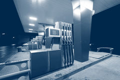 Gas station. Night view of the territory of the gas station Stock Images