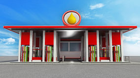 Gas station painted with red and white colors Stock Photography
