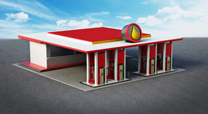 Gas station painted with red and white colors Stock Images