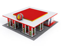 Gas station painted with red and white colors Royalty Free Stock Photo
