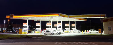 Gas Station. Gas or Petrol Station illuminated at night Stock Image
