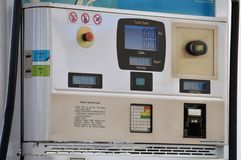 Gas Station, Petrol Pump with electric reading and rates Royalty Free Stock Photography