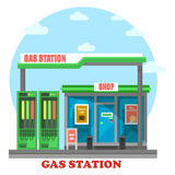 Gas station or petrol store, market or shop Stock Image