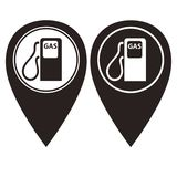 Gas station pin pointer in two color version Royalty Free Stock Images