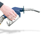 Gas Station Pump. Hand Holding Gas Station Pump Refuelling Car Isolated On White Background Stock Photography