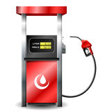 Gas station pump with fuel nozzle. Red Gas station pump with fuel nozzle and general oil logo Stock Photos