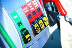Gas Station Pump. Gasoline and Diesel Pump. Fuel Distributor - Fuel Choice. Closeup Photo stock images
