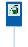 Gas Station Road Sign, Green Energy Concept Gasoline Fuel Filling Traffic Service Roadside Signage, Isolated Blue Petrol Fuel Tank Stock Photography