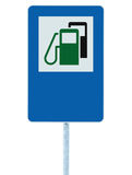 Gas Station Road Sign, Green Energy Concept Gasoline Fuel Filling Traffic Service Roadside Signage, Isolated Blue Petrol Fuel Tank Stock Images