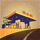 Gas station on the road. Vector illustration stylized as an old photograph on a gas station on the highway stock illustration