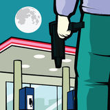 Gas station robbery. A man bring a gun to do a robbery at gas station, while no security there Stock Images