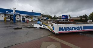 Gas station collapse during Hurricane Florence. Gas station roof that came down in Raeford North Carolina during Hurricane Florence stock photo