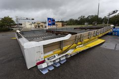 Gas station roof collapse during Hurricane Florence. Gas station roof collapse in Raeford North Carolina during Hurricane Florence royalty free stock images