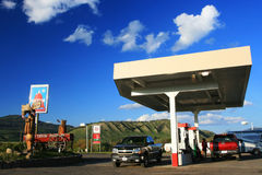 Gas station with self serve pumps in USA Stock Photo