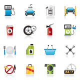 Gas Station Services Icons Stock Photography