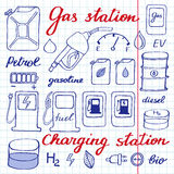 Gas station set. Hand-drawn cartoon collection of petrol icons - fuel, can, road sign, pump. Vector illustration Stock Photos