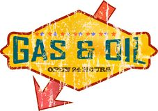 Gas station sign. Vintage and grungy gas station sign illustration Stock Image