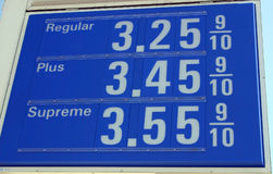 Gas Station Sign. A sign for gas prices at a gas station stock photo