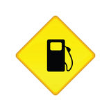 Gas station sign. Illustration of a yellow road sign for a gas station Royalty Free Stock Images