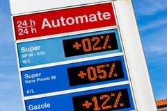 Gas station sign displaying different oils energies super, super unleaded, diesel. Closeup on Gas station sign displaying different oils energies super, super royalty free stock photo