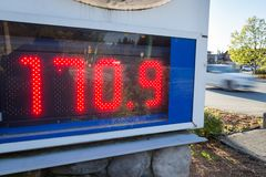 A gas station sign displays the new North American all time high gas price in Vancouver, Canada. royalty free stock photography