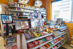 Gas station store interior. In Geneva, Switzerland. Photo taken on: August 25th, 2014 stock image