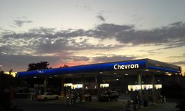 Gas Station at Sunset Stock Images