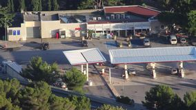 Gas Station Time Lapse. Aerial View of Highway Service Station. HD Time Lapse stock video