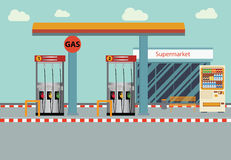 Gas station Vector flat illustration. Royalty Free Stock Image