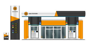 Gas station vector illustration. Royalty Free Stock Photo