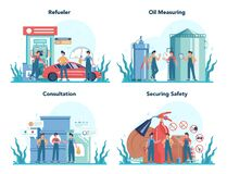 Free Gas Station Worker Or Refueler Concept Set. Worker In Uniform Working Stock Photography - 185040302