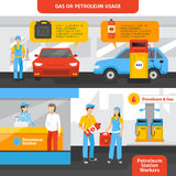 Gas Station Workers Banners Set. Gas station workers horizontal banners set with people and cars flat isolated vector illustration Stock Images