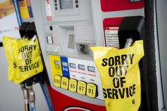 OUT OF GAS. Gas station that you pull into may be `all out` of fuel. Gas shortage can be a real thing running on empty, with pumps shut down due to a lack of stock photos