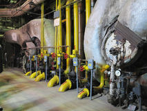 Gas steam generator, machinery, pipes, tubes at a power plant Royalty Free Stock Image