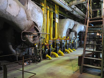Gas steam generator, machinery, pipes, tubes at a power plant Royalty Free Stock Images