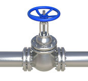 Gas steel pipeline with valve - 3d illustration. Gas steel pipeline with valve isolated on white - 3d illustration royalty free illustration