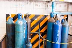 Gas steel storage tanks for welding. Acetylene and gas steel storage tanks for welding Royalty Free Stock Image
