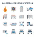 Gas storage icon. Gas storage and transportation vector icon set Royalty Free Stock Image